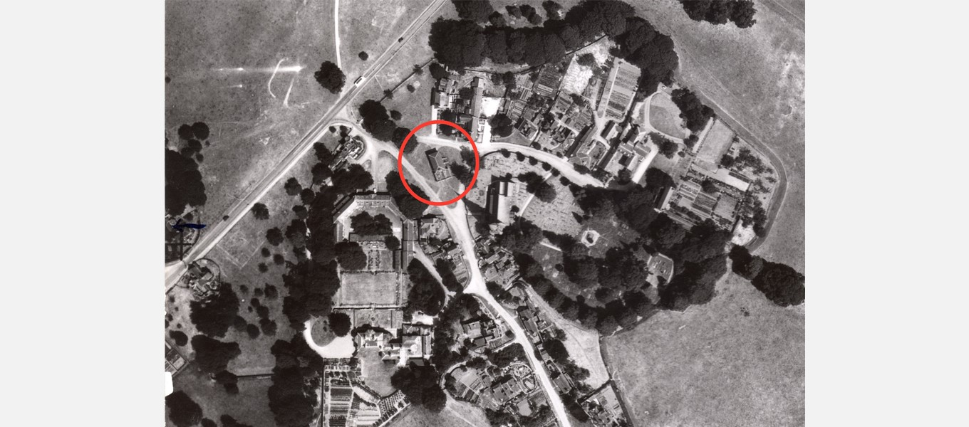 An aerial map of Edensor which shows the school (circled in red) in 1942, eight years before it was torn down
