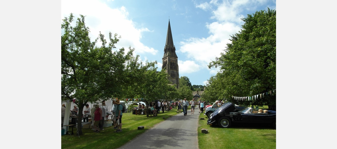 The village green being used for Edensor Day activities in 2017