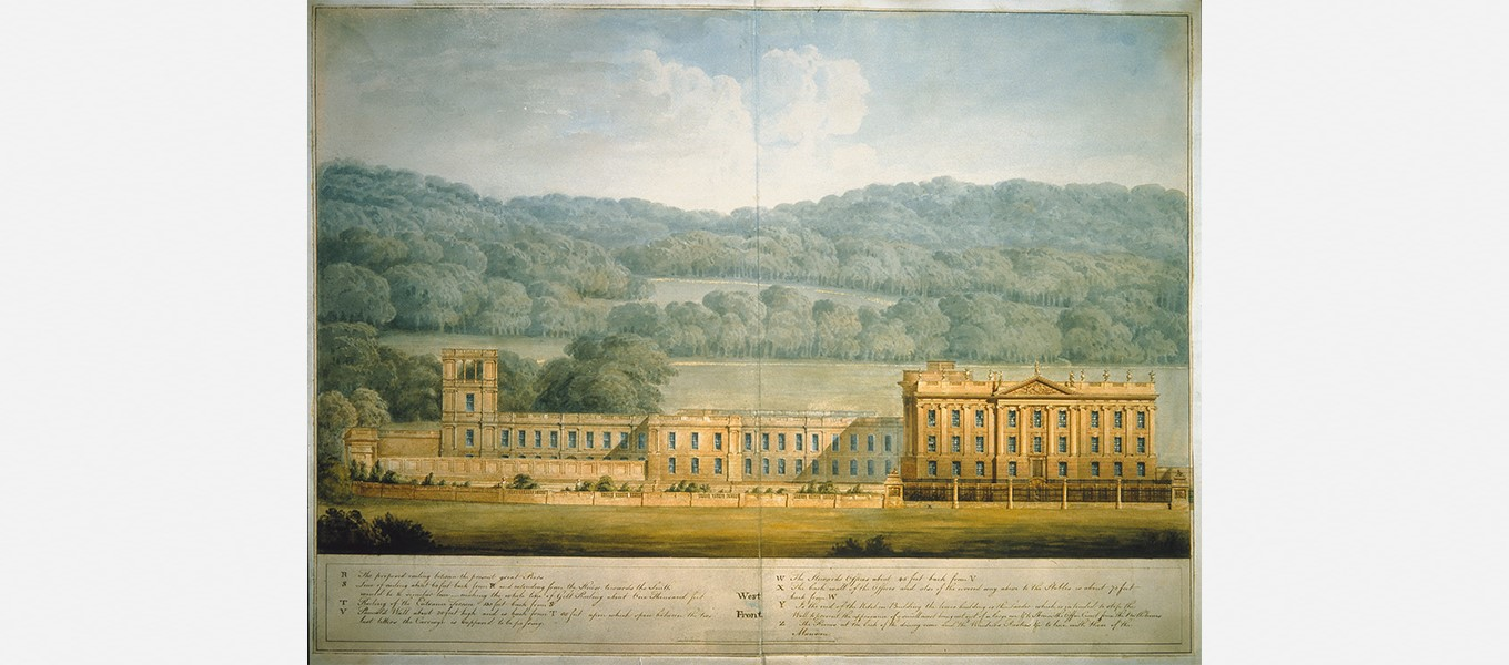 Watercolour of Chatsworth's West Front by Jeffry Wyatville, showing his plans for the great North Wing which was added by the 6th Duke to the 17th-century house.