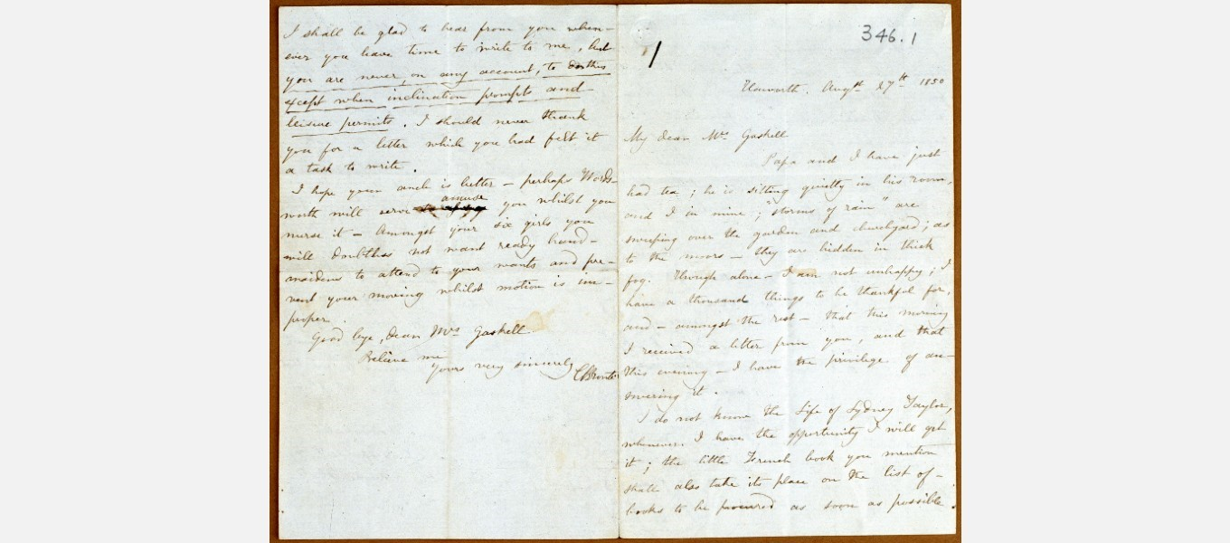The letter from Charlotte Brontë that Elizabeth Gaskell sent to the Duke as a gift.