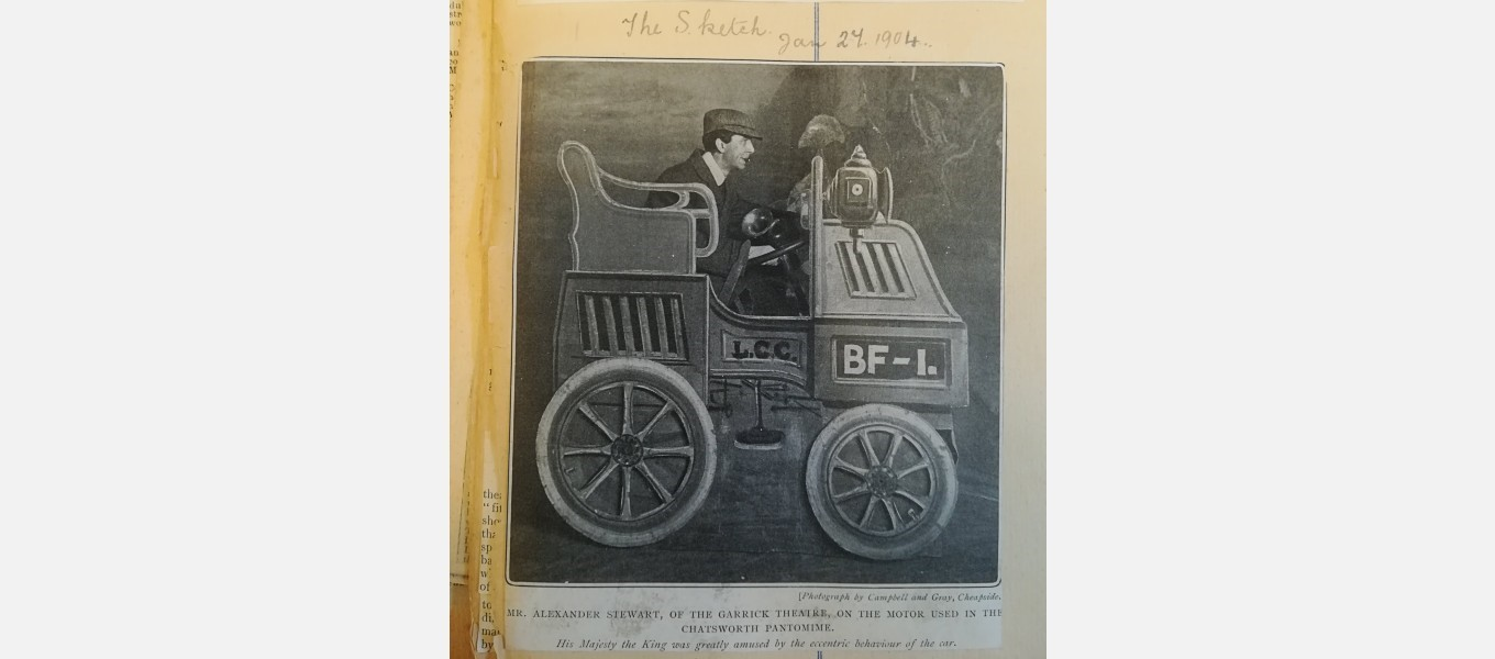 The image caption reads: 'Mr. Alexander Stewart, of the Garrick Theatre, on the motor used in the Chatsworth pantomime.' From the Grafton Papers (CH11/1/4)
