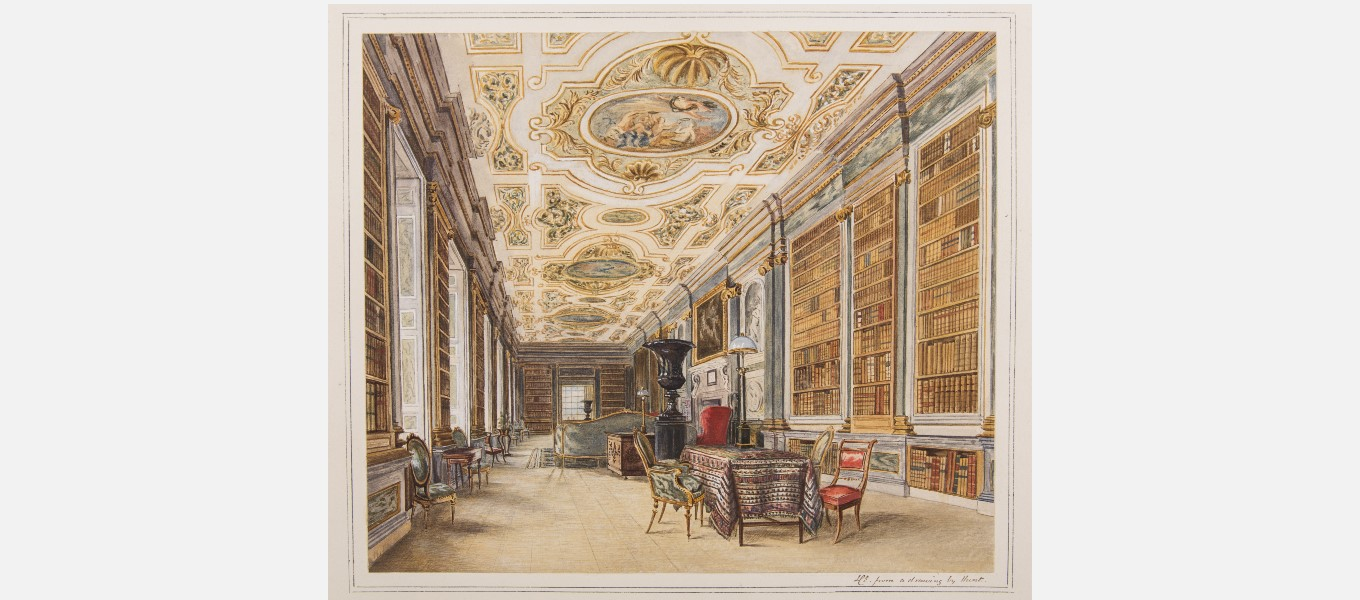 Watercolour of the Library by Lady Louisa Egerton, after William Henry Hunt's original