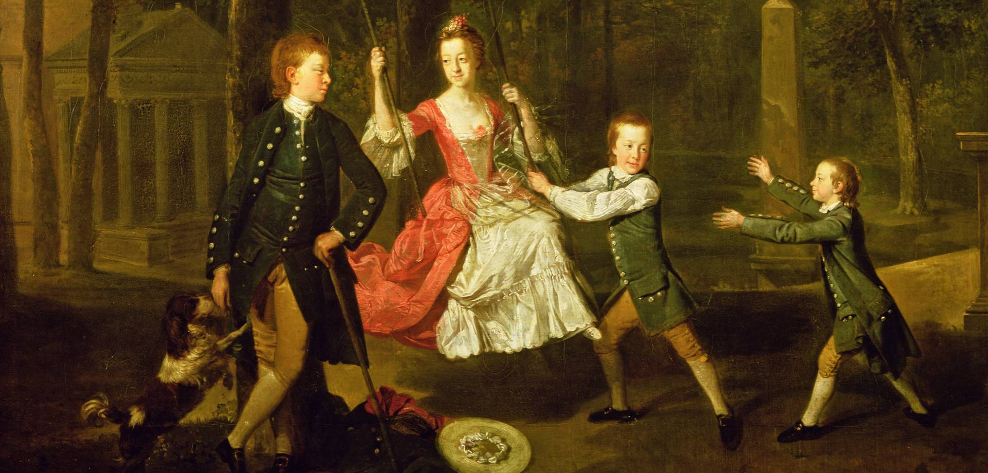 Portrait of the children of the 4th Duke of Devonshire in the gardens of Chiswick House, London